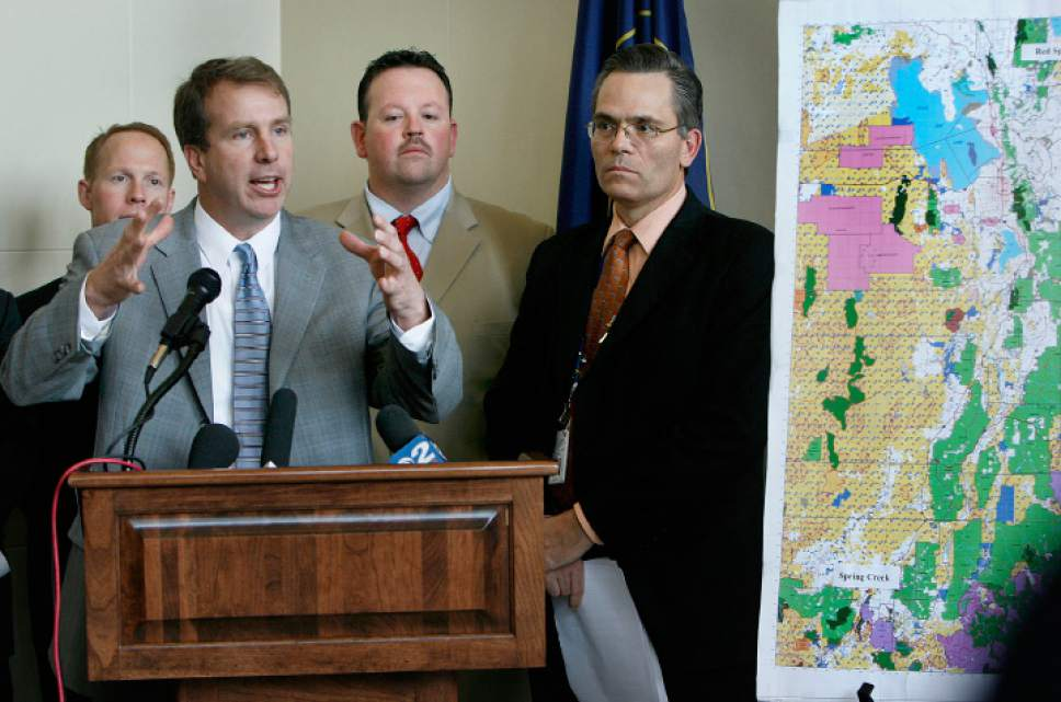 Scott Sommerdorf  |  Tribune file photo  Rep. Christopher Herrod, R-Provo, speaks at the lectern Thursday, flanked by Rep. Keith Grover, left, R-Provo, Rep. Carl Wimmer, R-Herriman, and Rep. Kenneth Sumsion. R-American Fork, during a news conference in which conservative lawmakers proposed bills they say would free up school trust lands they claim are now blocked to access by the federal government.