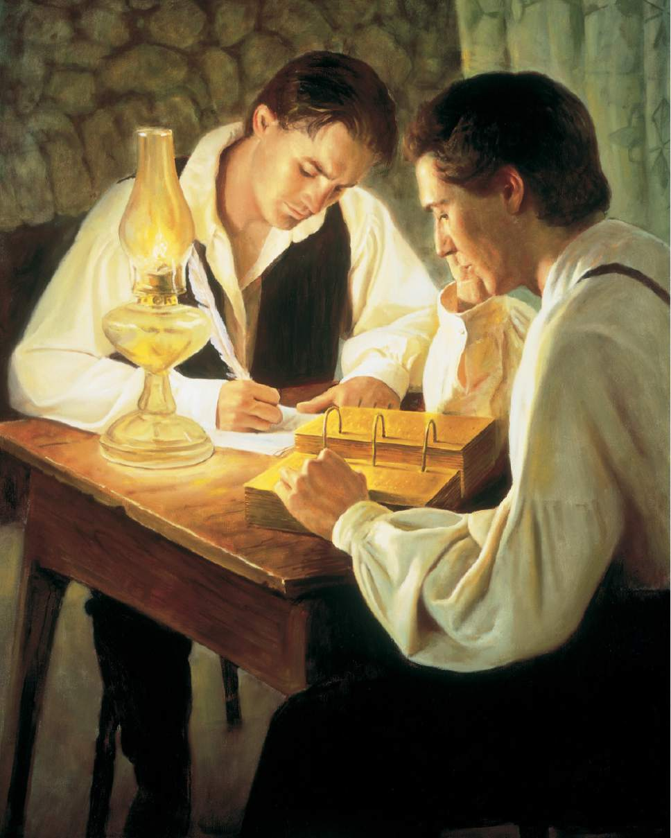 photo courtesy LDS Church  This painting depicts the translation of the Book of Mormon.