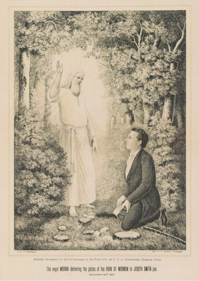 photo courtesy Library of Congress  This print from 1886 depicts Moroni delivering the Book of Mormon to Joseph Smith, Jr.