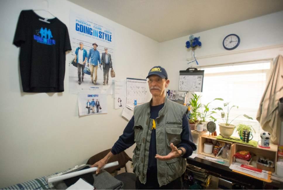 Rick Egan  |  The Salt Lake Tribune  Lonnie Gallarda,  resident at the HomeInn Hotel. Thursday, April 13, 2017.