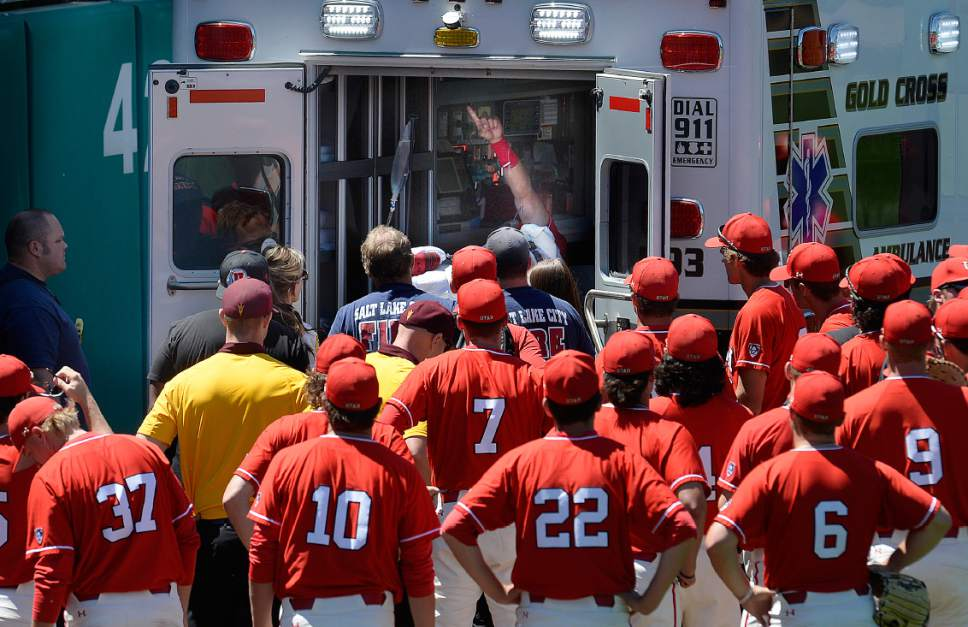 Scott Sommerdorf | The Salt Lake Tribune Utah CF DaShawn Keirsey Jr. gives team mates a signal after he seriously injured himself trying to make a play on Hunter Bishop's home run during first inning play, Sunday, May 28, 2017.