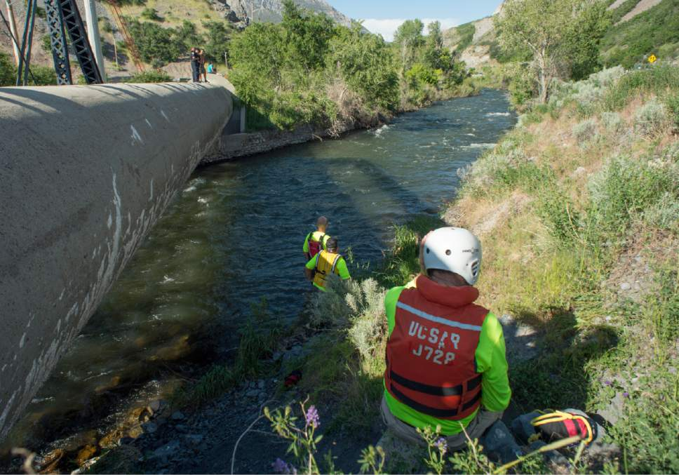 Rick Egan  |  The Salt Lake Tribune  Provo firefighters and search and rescue workers scan the Provo River for a child and possibly an adult, who were swept down the river on Provo Canyon Monday, May 29, 2017.