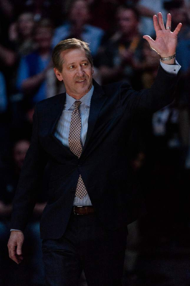Trent Nelson  |  The Salt Lake Tribune Jeff Hornacek makes an entrance as the Utah Jazz celebrate the 20th anniversary of the franchise's first Western Conference Championship and honor members of the 1996-1997 squad, in Salt Lake City, Wednesday March 22, 2017.