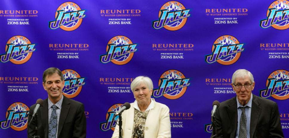 Steve Griffin  |  The Salt Lake Tribune   As the Utah Jazz celebrate the 1997 Utah Jazz team John Stockton, Gail Miller and Jerry Sloan talk about their memories of the historic season during press conference at Vivint Smart Home Arena in Salt Lake City Wednesday March 22, 2017.