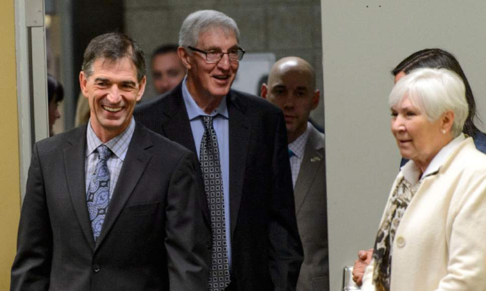 Steve Griffin  |  The Salt Lake Tribune   As the Utah Jazz celebrate the 1997 Utah Jazz team John Stockton, Jerry Sloan and Gail Miller walk into a press conference at Vivint Smart Home Arena in Salt Lake City Wednesday March 22, 2017.