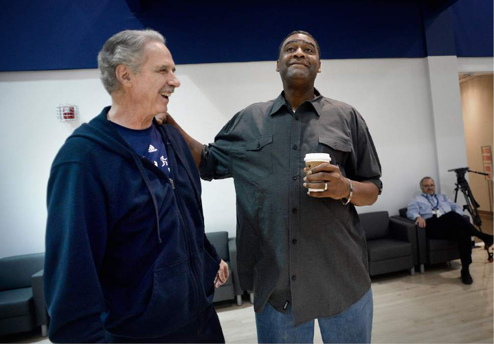 Scott Sommerdorf | The Salt Lake Tribune Former Jazz coach Phil Jackson meets with former Jazzman Chris Morris as Jazz players from the 1997 team had a reunion at the Jazz practice facility, Wednesday, March 22 2017.