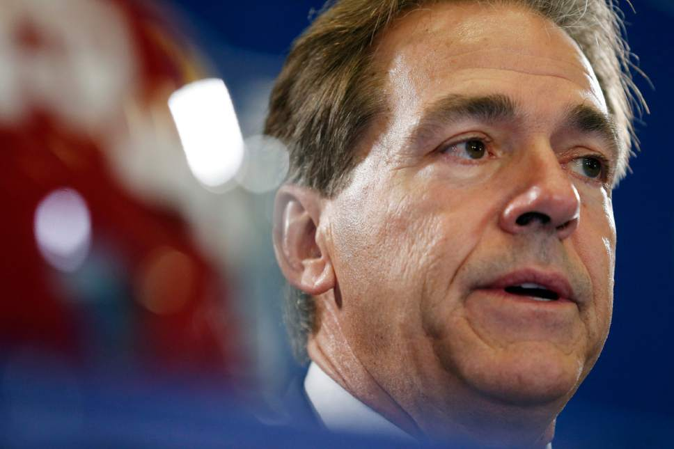 Alabama head coach Nick Saban speaks during a news conference, Friday, Dec. 5, 2014, in Atlanta, ahead of the Southeastern Conference championship football game between Alabama and Missouri held Saturday. (AP Photo/Brynn Anderson)