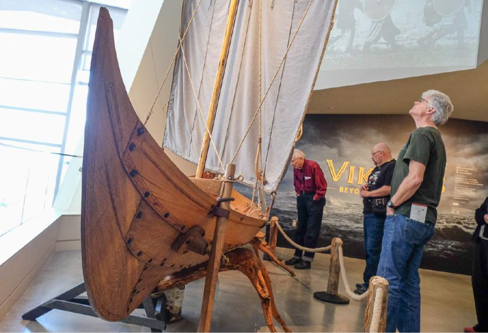 """Francisco Kjolseth   The Salt Lake Tribune Museum members get the first glimpse of  """"Vikings: Beyond the Legend,"""" a new exhibit at the Natural History Museum of Utah that opens to the public on Saturday and runs through Jan 1. Some 500 artifacts, some of which have never been shown outside Scandinavia are on display."""