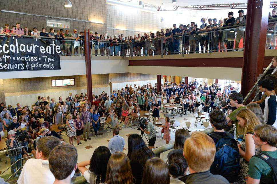 Francisco Kjolseth | The Salt Lake Tribune Park City High School students and teachers gather in the common area of the school to hear the announcement by Park City School District's Board of Education of a $7,000 across-the-board pay increase for teachers on Wed. May 31, 2017.