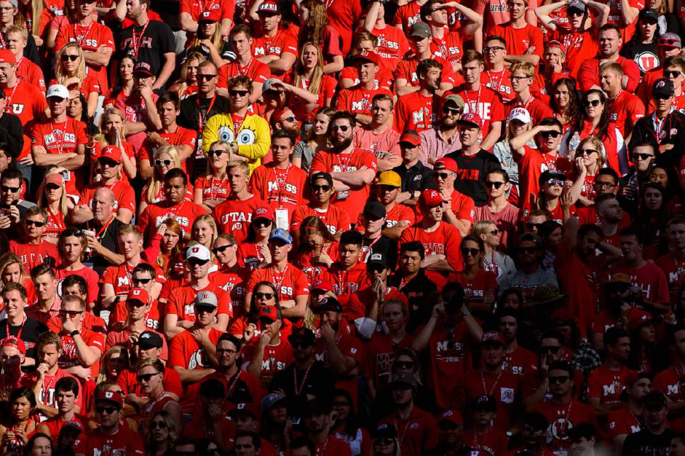 Trent Nelson  |  The Salt Lake Tribune Utah fans, as the University of Utah faces Washington, college football at Rice-Eccles Stadium in Salt Lake City, Saturday October 29, 2016.