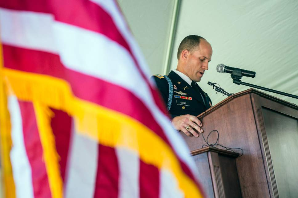 Chris Detrick  |  The Salt Lake Tribune Lieutenant Colonel Forrest 'Chip' Cook, Professor of Military Science-Army ROTC at Brigham Young University speaks during a Memorial Day Service at Larkin Sunset Gardens Cemetery in Sandy Monday, May 29, 2017.