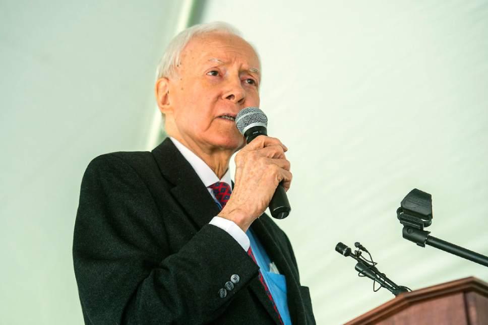 Chris Detrick     The Salt Lake Tribune Sen. Orrin Hatch, R-Utah, speaks during a Memorial Day Service at Larkin Sunset Gardens Cemetery in Sandy Monday, May 29, 2017.