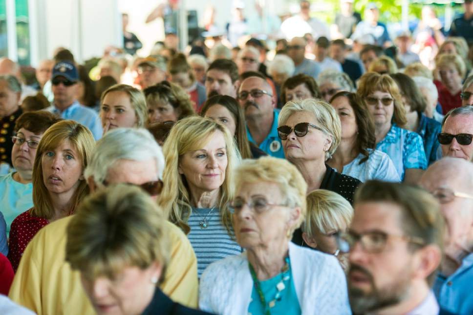 Chris Detrick  |  The Salt Lake Tribune Audience members listen during a Memorial Day Service at Larkin Sunset Gardens Cemetery in Sandy Monday, May 29, 2017.