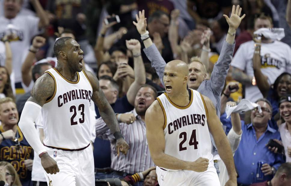 929ff06e9b6e Cleveland Cavaliers  LeBron James (23) and Richard Jefferson (24) celebrate  after. Golden State Warriors forward Kevin Durant ...