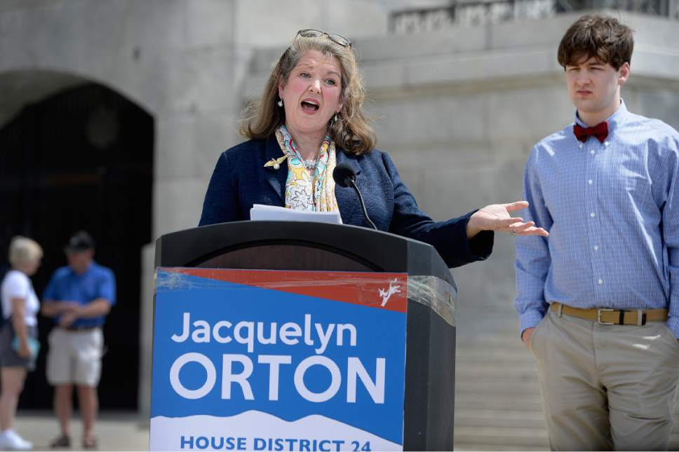 Scott Sommerdorf  |  The Salt Lake Tribune Jacquelyn Orton, widow of former U.S. Rep. Bill Orton, announces her candidacy for the Legislature on Wednesday. She will be running for the District 24 seat in the Utah House of Representatives.
