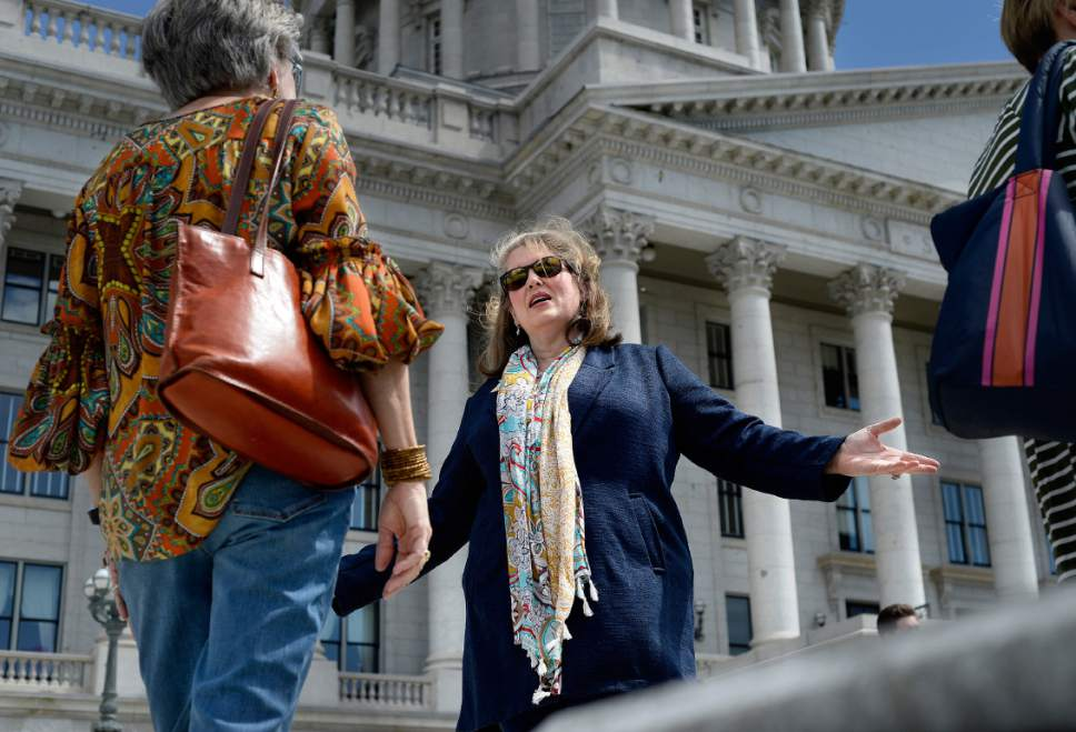 Scott Sommerdorf | The Salt Lake Tribune Jacquelyn Orton speaks with her friend and supporter Janie Wilson prior to announcing her candidacy for the Legislature on the south side of the Utah Capitol, Wednesday, May 31, 2017. She will be running for the District 24 seat in the Utah House of Representatives.