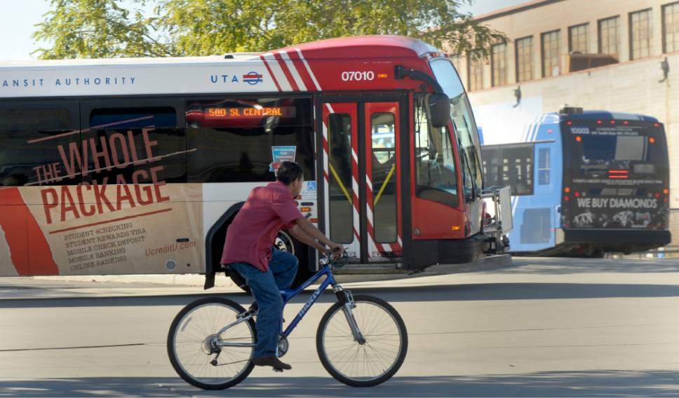 Al Hartmann  |   Tribune file photo A UTA bus leave the Salt Lake Central Station at 250 S. 600 W. in Salt Lake City in 2015. Bus drivers are receiving training aimed at increasing safety around bicycle riders.