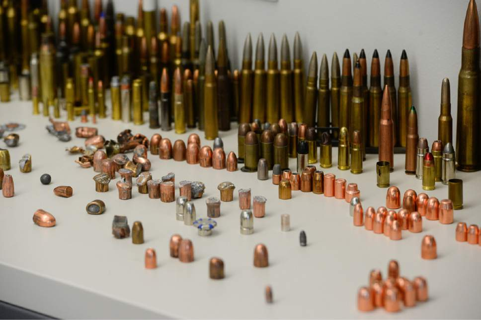 Francisco Kjolseth | The Salt Lake Tribune The Department of Public Safety gives a tour of the new State Crime Lab in Taylorsville, including the ballistics unit where bullets are examined on Thursday, June 1, 2017. Housing the Utah State Medical Examiner's Office and the Department of Agriculture the new building features a ballistics firing range, vehicle processing bays, trace evidence labs, chemistry labs and a robotic DNA testing lab.