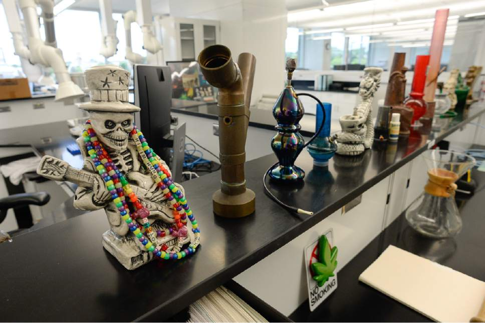 Francisco Kjolseth | The Salt Lake Tribune Confiscated drug paraphernalia is on display in the chemistry lab of the new State Crime Lab in Taylorsville on Thursday, June 1, 2017.