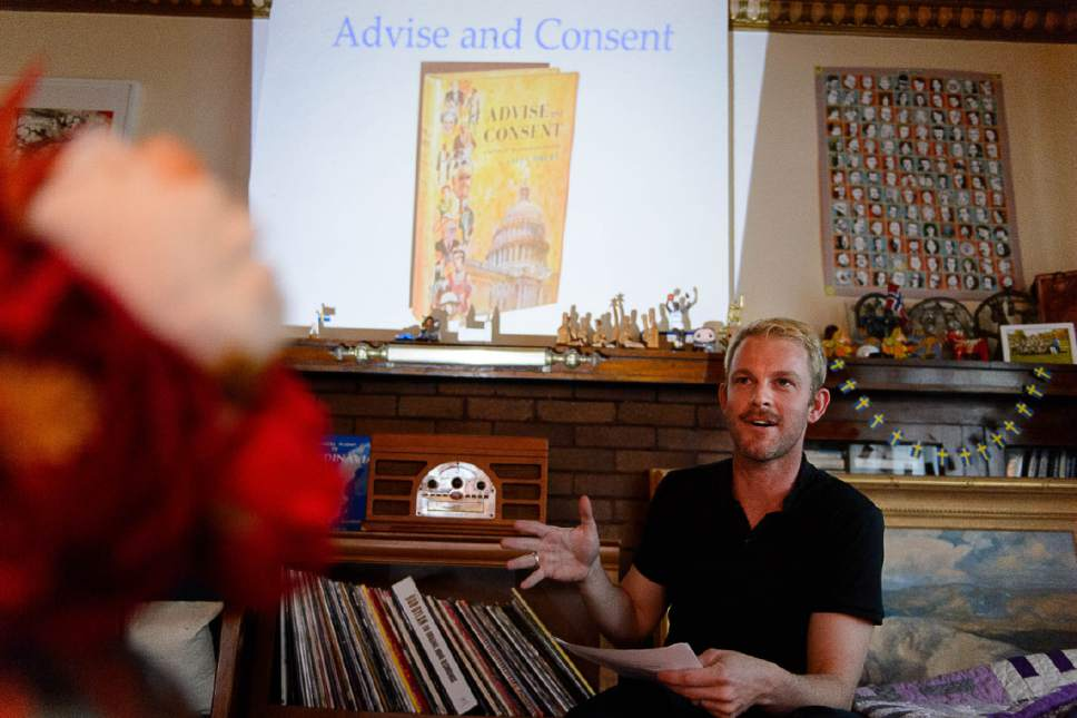 Trent Nelson  |  The Salt Lake Tribune Historian J. Seth Anderson talks about his new book, LGBT Salt Lake, during a salon in a private home in Salt Lake City, Wednesday May 31, 2017.