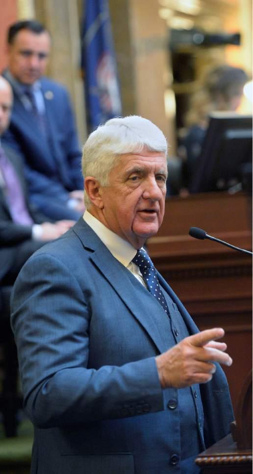 Al Hartmann     The Salt Lake Tribune Utah Congressman Rob Bishop speaks to members in the Utah House of Representatives Friday Feb 10.