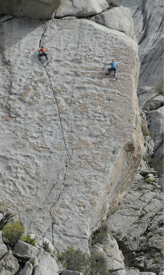 Franciso Kjolseth  |  The Salt Lake Tribune  Climbers make their way up the rock side by side near the base of Little Cottonwood Canyon while the mercury starts to climb on Monday, May 5, 2014.