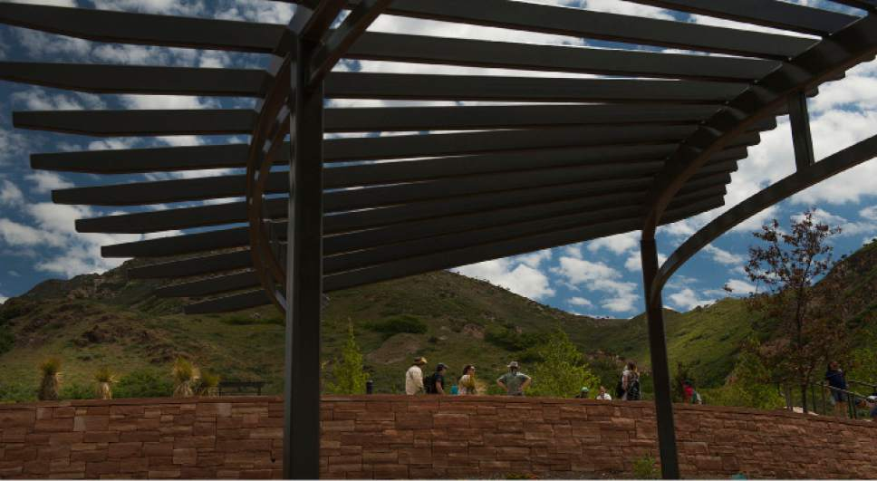 Leah Hogsten  |  The Salt Lake Tribune Red Butte Garden's new Water Conservation Garden has several pavillions where guests can sit in the shade and enjoy the expansive view of the Salt Lake Valley.