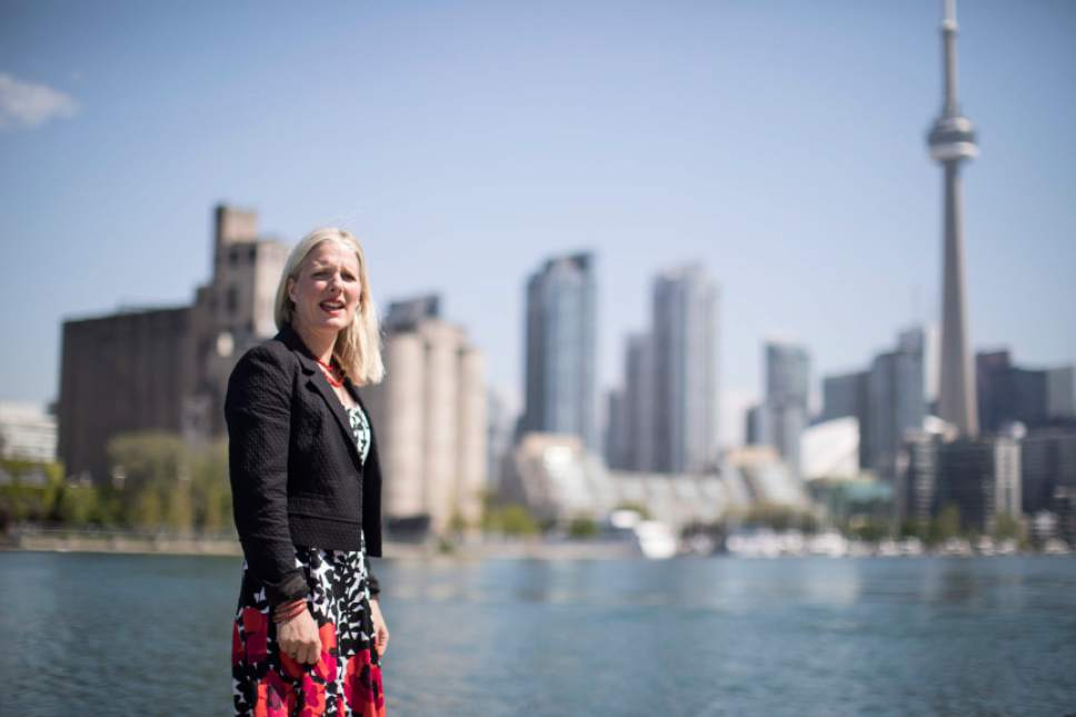 Environment Minister Catherine McKenna is pictured after delivering a policy announcement in Toronto , on Wednesday May 31 , 2017. McKenna says the Canadian government remains committed to the Paris Accord amid concerns that the U.S. will walk away from the landmark global climate agreement. (Chris Young/The Canadian Press via AP)