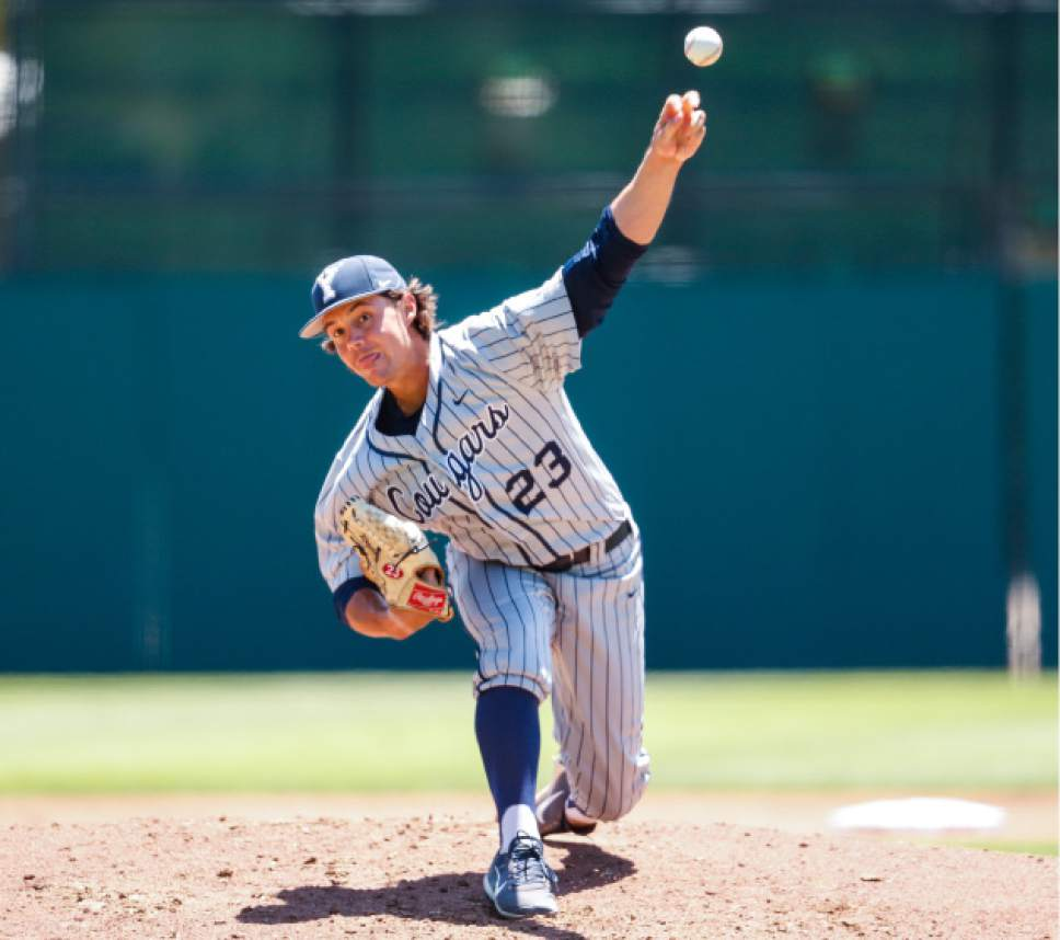 Jaren Wilkey  |  BYU  Hayden Rogers pitches for the BYU Baseball Team who defeated  Sacramento State 6-1 in an elimination game at the Stanford Regional of the NCAA Championships on June 2, 2017.