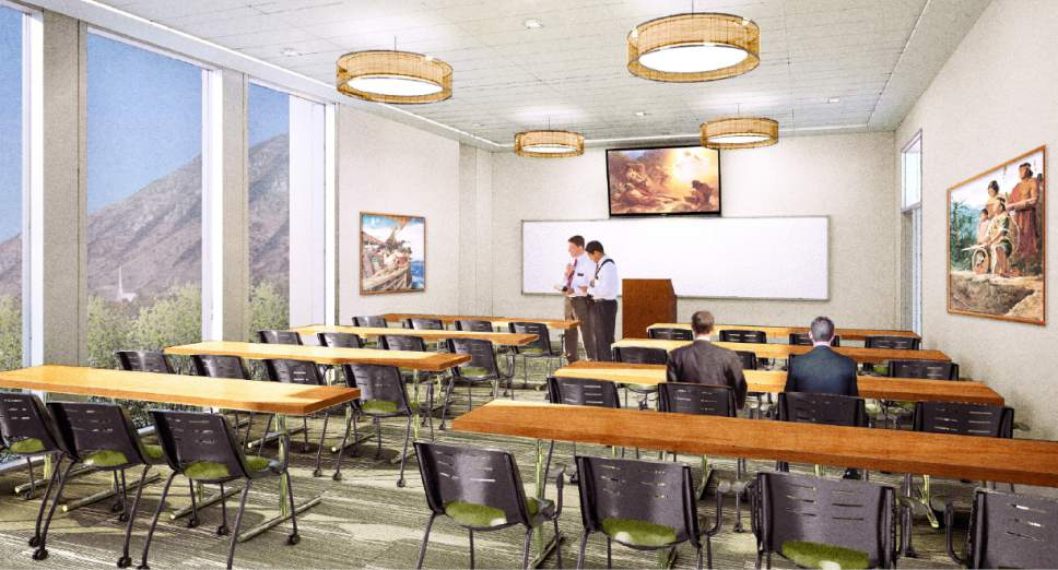 |  Courtesy LDS Church  Rendering of a classroom located in the two new buildings at the Missionary Training Center (MTC) in Provo, Utah.