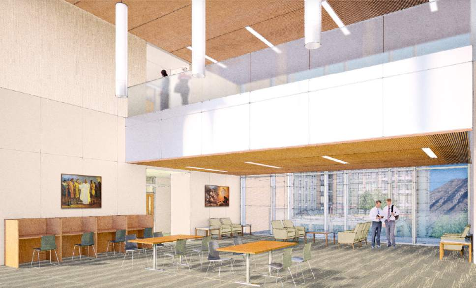 |  Courtesy LDS Church  Rendering of one of the open areas in the two new buildings at the Missionary Training Center (MTC) in Provo, Utah.