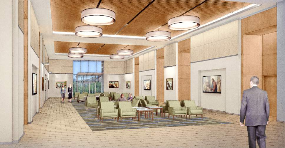 |  Courtesy LDS Church  Rendering of the lobby in one of the new buildings at the Missionary Training Center (MTC) in Provo, Utah.