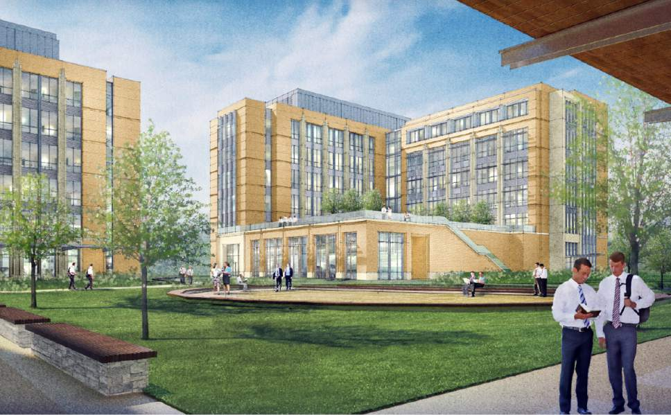 |  Courtesy LDS Church  Rendering of the new courtyard area of the Missionary Training Center (MTC) in Provo, Utah.
