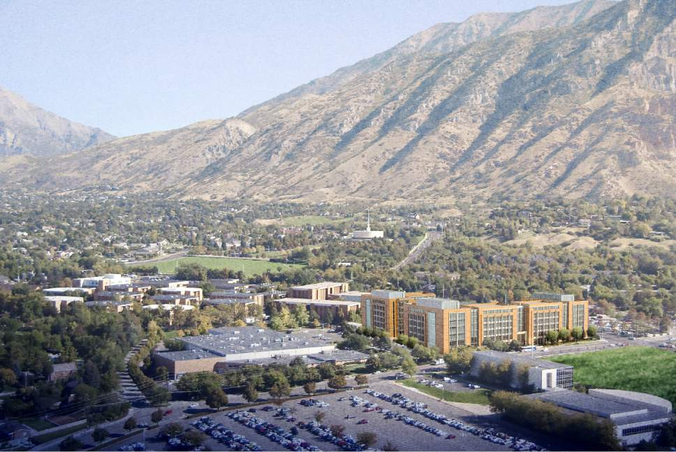 |  Courtesy LDS Church  An aerial view of the Missionary Training Center (MTC), north of the Brigham Young University campus in Provo, Utah. The new buildings are shown as renderings located next to the existing MTC. The Provo Utah Temple is shown just below the Wasatch Mountains.