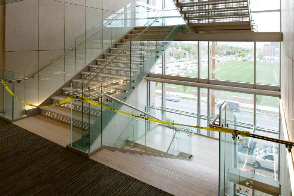 |  Courtesy LDS Church  Both buildings in the new Missionary Training Center (MTC) have wide stairways to encourage use of the stairs rather than the elevators.