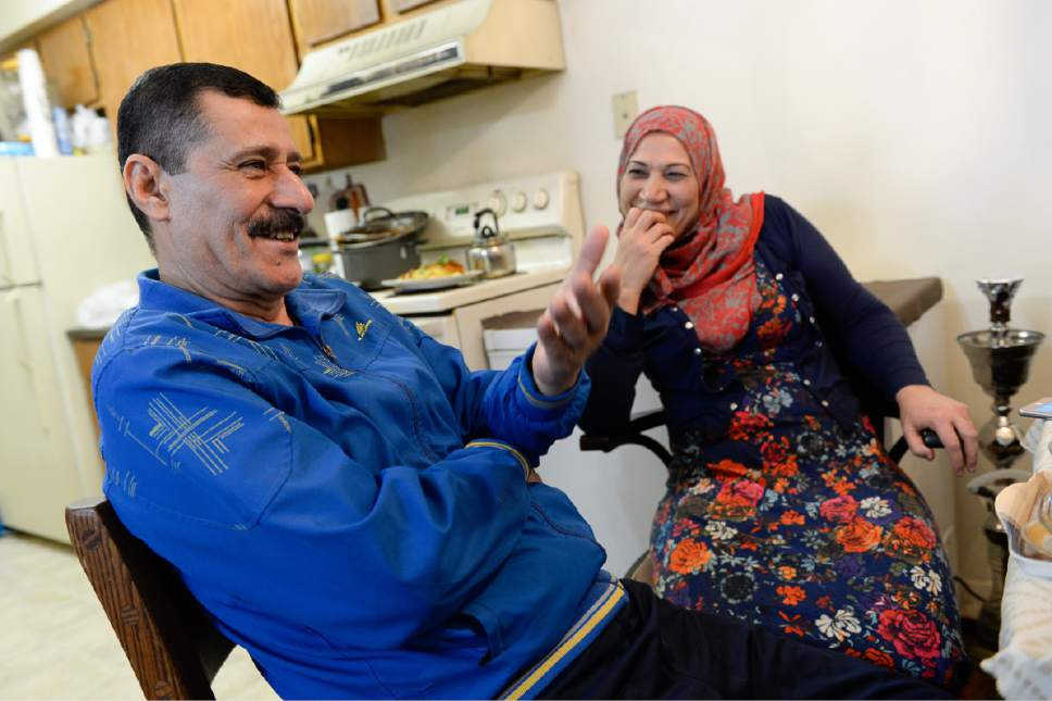 Francisco Kjolseth | The Salt Lake Tribune Abdul Rahman Alshraheb talks about fishing alongside his wife Iman Alshraheb as the two recall memories of living in their native Iraq following a traditional meal at their apartment in Salt Lake City. Fleeing their country in pursuit of safety and security for their family, they have made a life in the valley and love living in the United States.