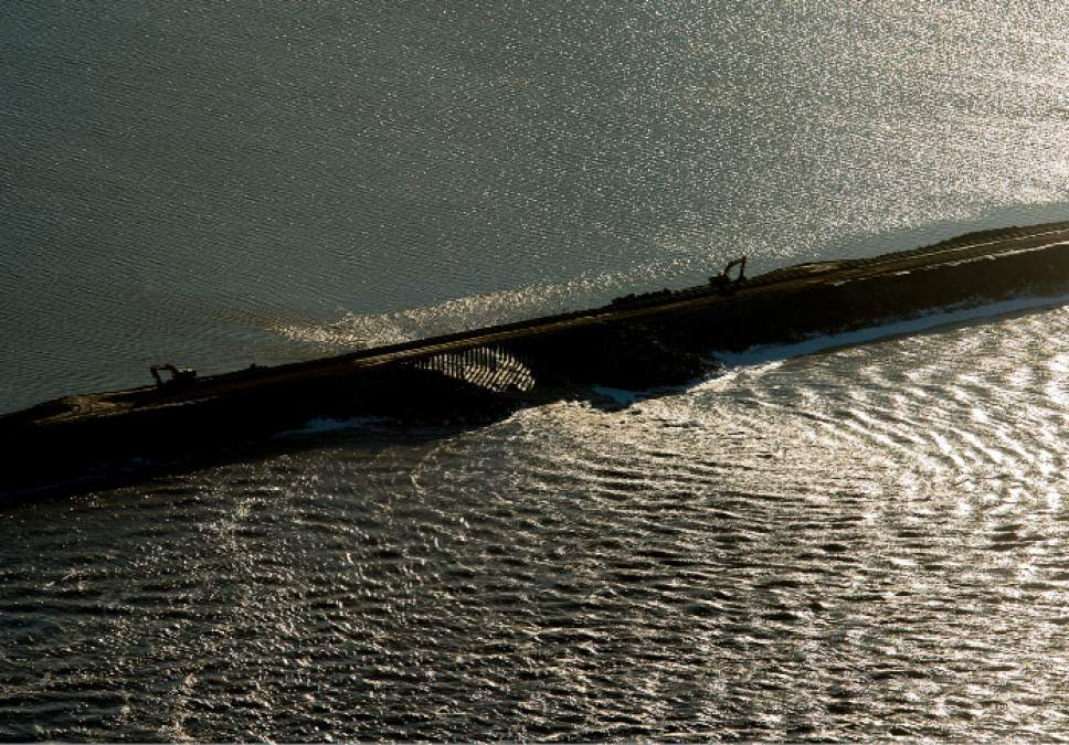Steve Griffin  |  Tribune file photo   A breach in the Union Pacific causeway that separates the the north and the south ends of the Great Salt Lake Friday December 2, 2016.