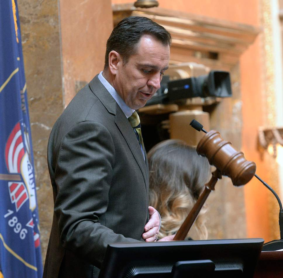 Al Hartmann      Tribune file photo Speaker of the House Greg Hughes strikes the gavel Monday Jan. 30 to start the second week of the Utah 2017 Legislature.