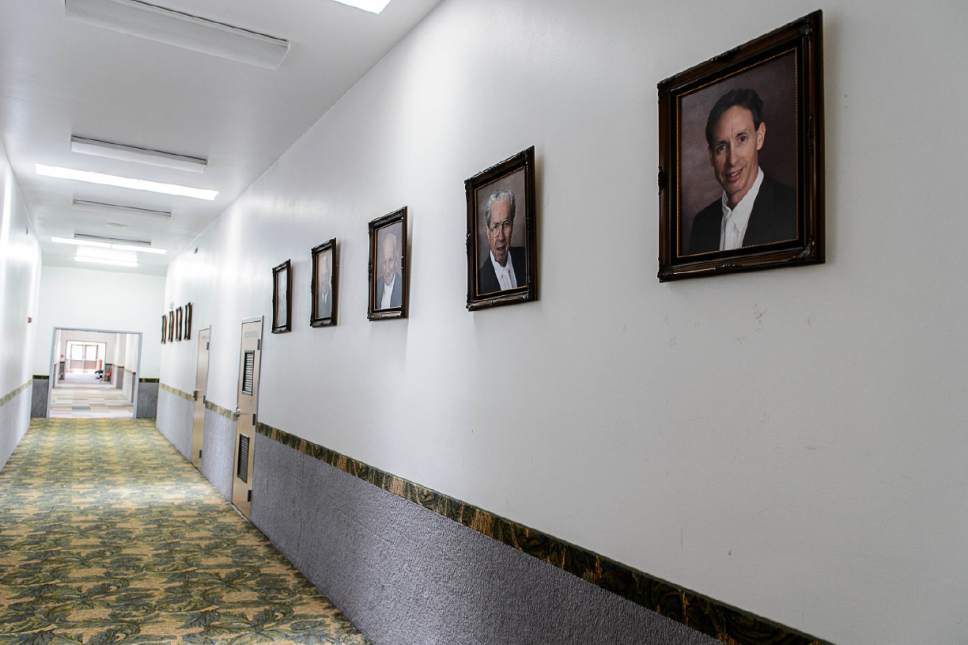 Trent Nelson     The Salt Lake Tribune Portraits of FLDS prophets including, from right, Warren Jeffs, Rulon Jeffs, and Leroy Johnson, line the hallway in an FLDS school in Colorado City, Ariz., one of a few sites being considered for use as an LDS meetinghouse. The property is owned by the UEP land trust, which is seeking to dispose of its holdings. Tuesday May 23, 2017.