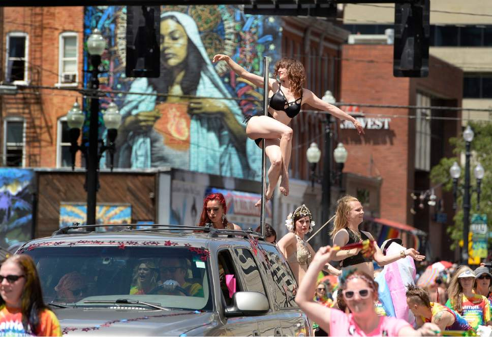 Scott Sommerdorf | The Salt Lake Tribune During the Salt Lake City Pride parade, Sunday, June 4, 2017.