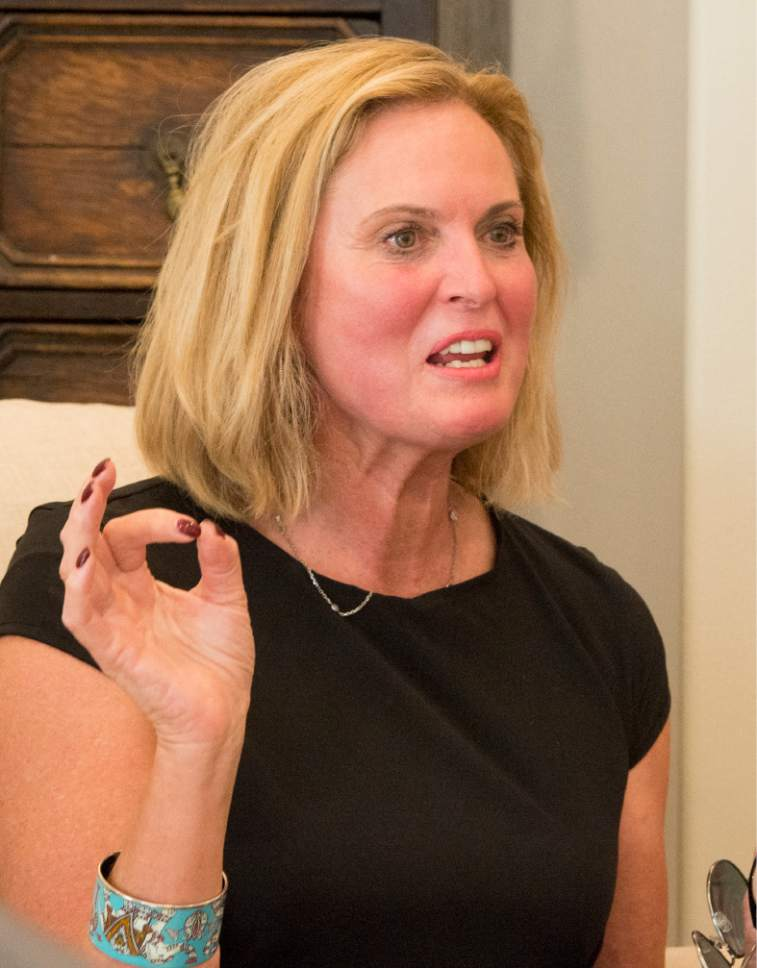 Rick Egan  |  The Salt Lake Tribune  Ann Romney speaks at a campaign event for 3rd District candidate Stewart Peay.  in Cedar Hills, Wednesday, June 7, 2017.