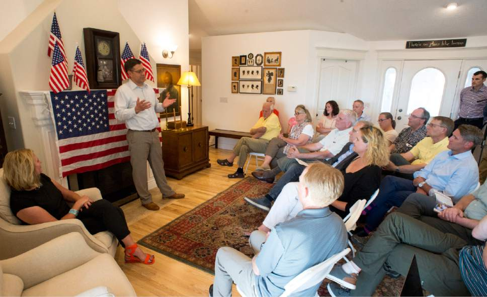 Rick Egan  |  The Salt Lake Tribune  Third District candidate Stewart Peay speaks to delegates at a campaign event in Cedar Hills, Wednesday, June 7, 2017.