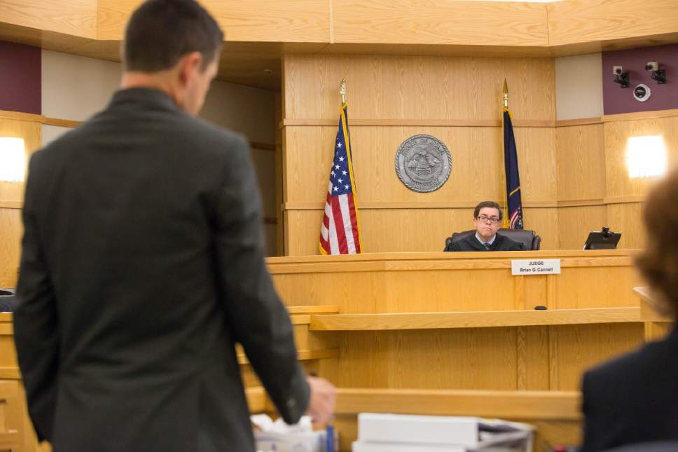 County Prosecutor Spencer Walsh presents counter arguments during Former Utah State University Linebacker Torrey Green's hearing in 1st District Court on Wednesday, April 19. Green is charged with six counts of rape, one count of aggravated kidnapping, three counts of forcible sex abuse and two counts of object rape. (Tim Carpenter/Utah Statesman)