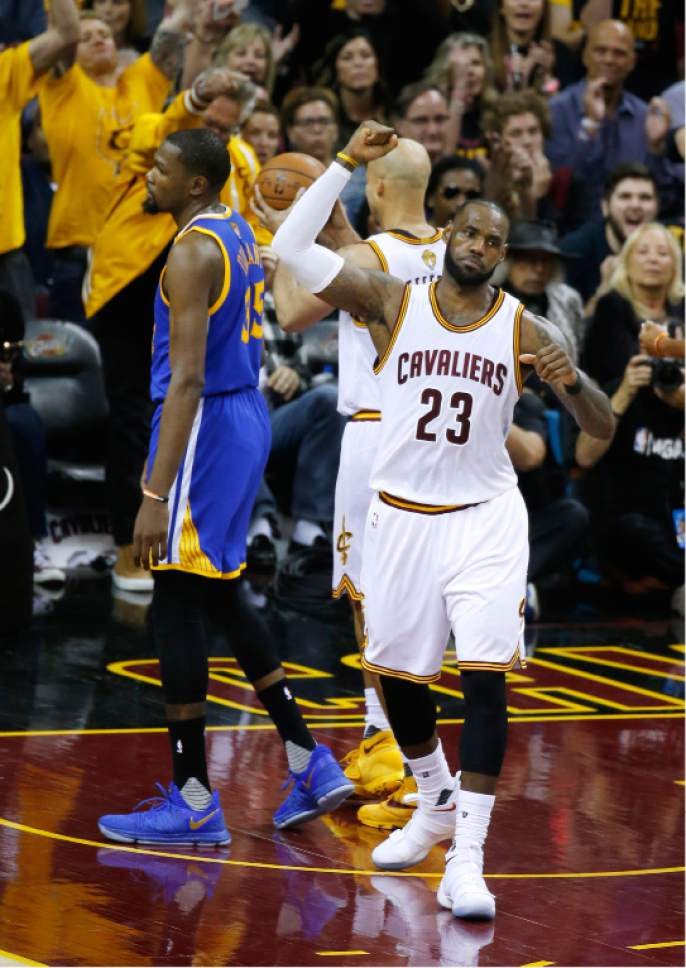 f845486fbfe Cleveland Cavaliers forward LeBron James (23) reacts as Golden State  Warriors forward Kevin Durant
