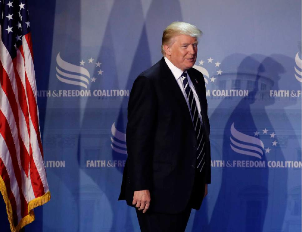 President Donald Trump walks onstage to speak at the Faith and Freedom Coalition's Road To Majority conference in Washington, Thursday, June 8, 2017. (AP Photo/Patrick Semansky)