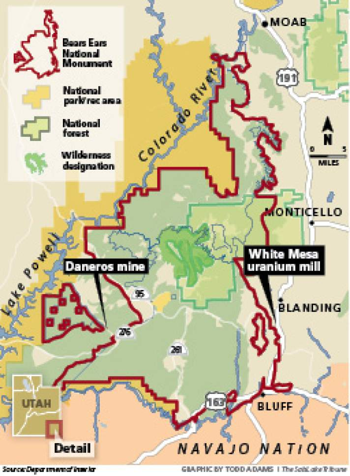 Monument jeopardizes uranium industry, Utah claims Though the White Mesa uranium mill and the Daneros mine are outside the Bears Ears boundary, industry proponents say access through the monument could be targeted for closure.