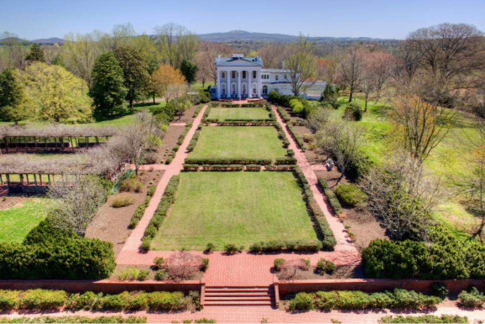 This April 8, 2017 photo provided by John Handcock Productions is an aerial view of Horseshoe Farm in Rapdian, Va. The plantation is on of three being sold by the family of West Virginia gov. Jim Justice. (Jim Handcock Productions via AP)
