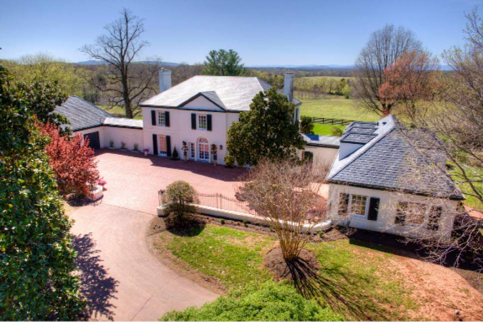 This April 8, 2017 photo provided by John Hancock Productions shows an aerial view of Rapidan Farm in Rapdian, Va. The plantation is on of there being sold by the family of West Virginia gov. Jim Justice. (Jim Handcock Productions via AP)