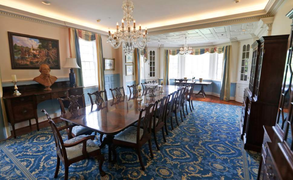 The dining room of the Flowered Hundred plantation home Wednesday, June 7, 2017, in Hopewell, Va. The plantation is one of three Virginia plantations owned buy the family of West Virginia Gov. Jim Justice that will be put on the auction block later this month. (AP Photo/Steve Helber)