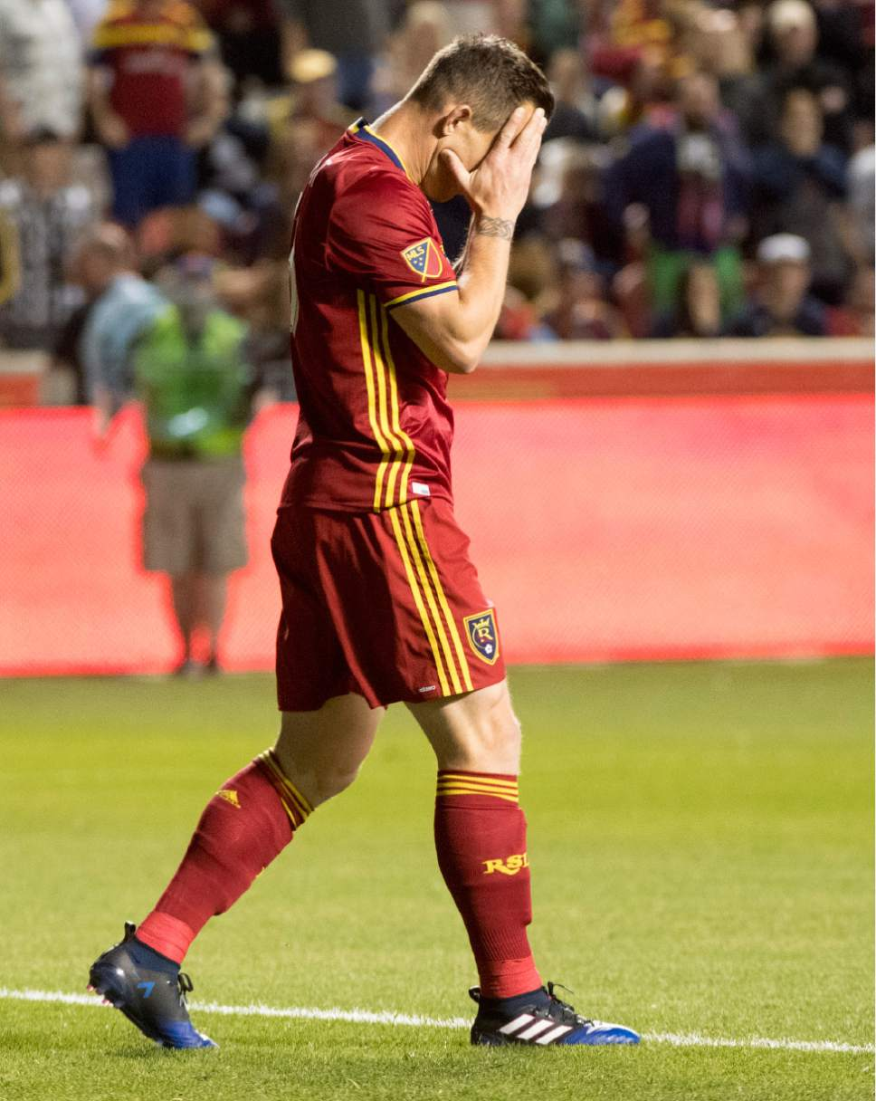 Rick Egan  |  The Salt Lake Tribune  Forward Chad Barrett (13) reacts after narrowing missing a goal for Real Salt Lake, in MLS action Real Salt Lake vs. Los Angeles Galaxy at Rio Tinto Stadium, Saturday, March 18, 2017.